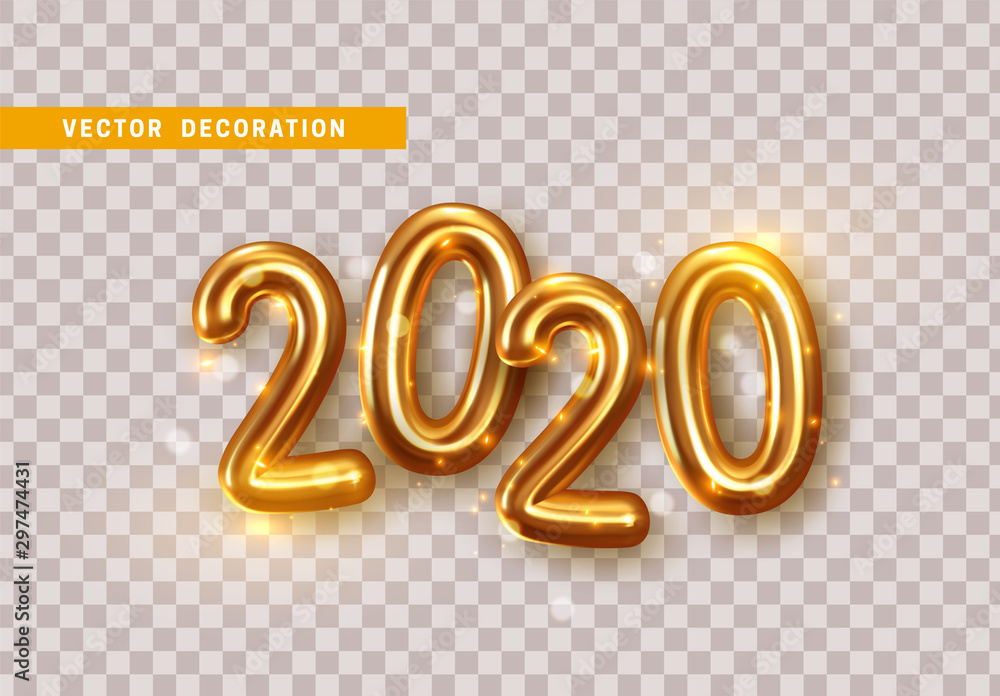 Fototapety, obrazy: Happy New Year 2020. Golden metal numbers. Realistic 3d render signs. Luminous bright splash of gold bokeh lights. Isolated on transparent background.
