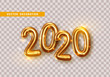 Happy New Year 2020. Golden metal numbers. Realistic 3d render signs. Luminous bright splash of gold bokeh lights. Isolated on transparent background.