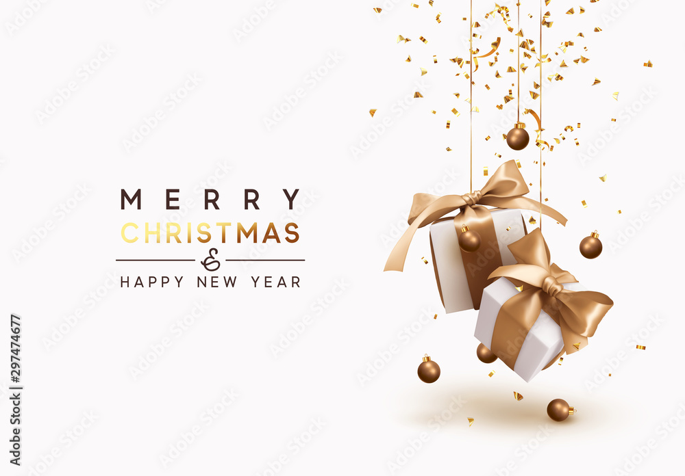 Fototapety, obrazy: Merry Christmas and Happy New Year. Background with realistic festive gifts box. Xmas present. white boxes with beige ribbon gift surprise, Golden Christmas baubles, balls, glitter gold confetti.