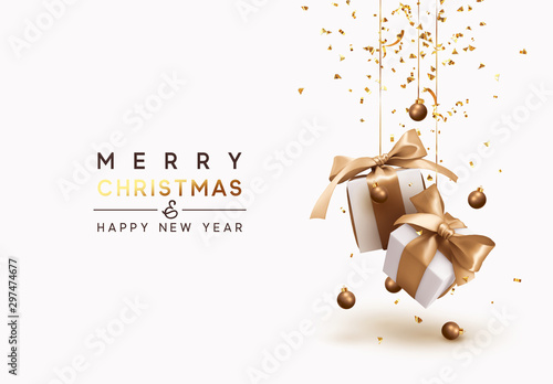 Merry Christmas and Happy New Year. Background with realistic festive gifts box. Xmas present. white boxes with beige ribbon gift surprise, Golden Christmas baubles, balls, glitter gold confetti. - 297474677