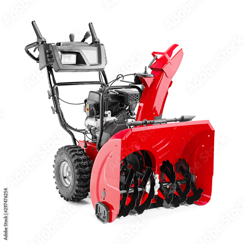 Photo Snow Blower or Snow Thrower Isolated on White Background