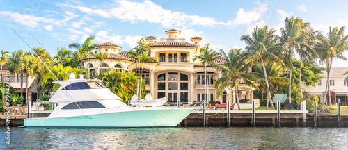 Luxury Waterfront Mansion in Fort Lauderdale Florida Billede på lærred