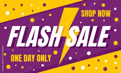 Obraz Flash sale shop now concept banner. Flat illustration of flash sale shop now vector concept banner for web design - fototapety do salonu