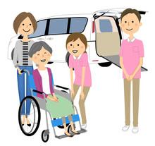 福祉車両 高齢者と介護スタッフ