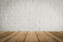 Empty Wooden Table Top On Whit...