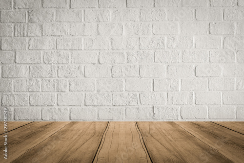 Empty wooden table top on white brick wall background, high quality, 3D rendering - 297481249