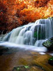 FototapetaAmazing in nature, beautiful waterfall at colorful autumn forest in fall season