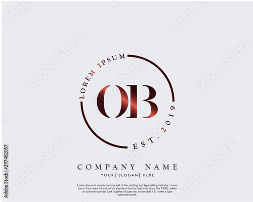 Fotografía  Initial letter OB beauty handwriting logo vector
