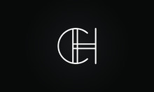 CH OR HC Initial Based Letter Icon Logo Unique Modern Creative Elegant Geometric Fashion Brands Black And White Color