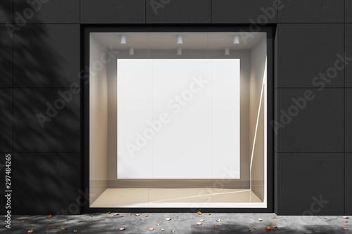 Fototapeta Empty showcase with illumination at night. Mock up. 3d rendering