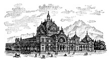 Lucerne Railway Station, Vintage Illustration.