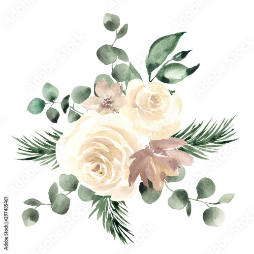 Fotografía  Bouquet with watercolor hand draw flowers and leaves, isolated on white backgrou