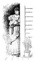 Woman Standing In A Doorway, Vintage Illustration