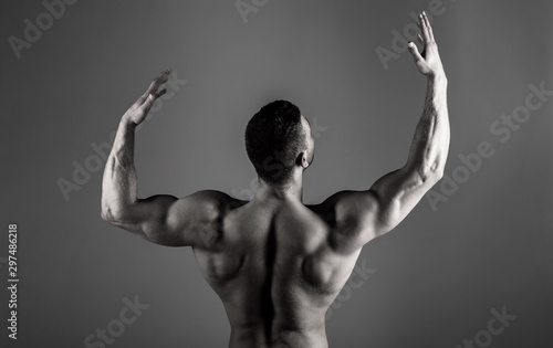 Body builder, muscled male, strong man, bodybuilder, muscular man, strong male. Brawny guy bodybuilder. Sporty guy male power. Fitness muscled man. Athletic caucasian. Bodybuilding, ab, sexy, naked - 297486218