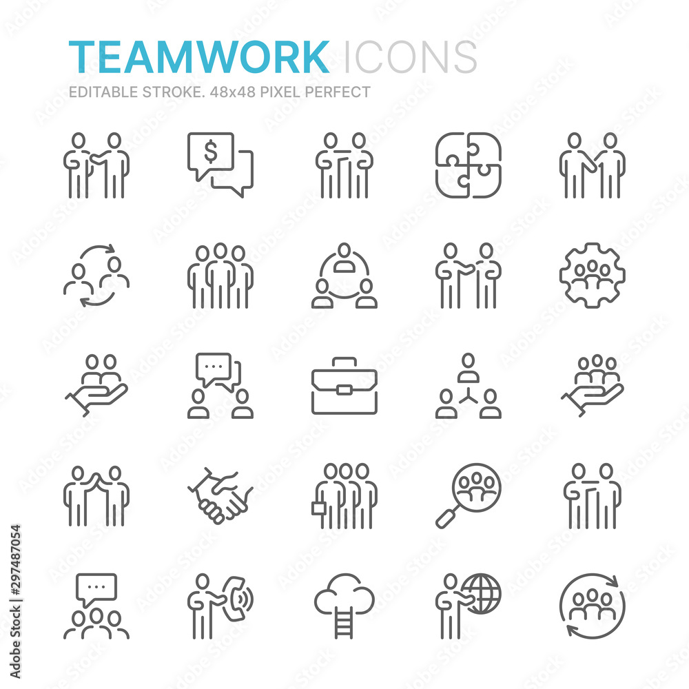 Fototapeta Collection of teamwork related line icons. 48x48 Pixel Perfect. Editable stroke