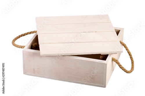 Wooden box with a lid on a white background. Storage box Wallpaper Mural