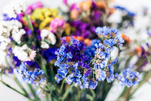 Close Up Bouquet Of Colorful Dried Flowers Background Texture.