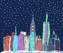 Christmas Winter Snowy Night Town City Cityscape Background. Like Child's Hand Drawing New York Skyscrapers. Crayon Or Pastel Chalk Like Kids Drawn Snow Building Urban Landscape Vector New Year Banner