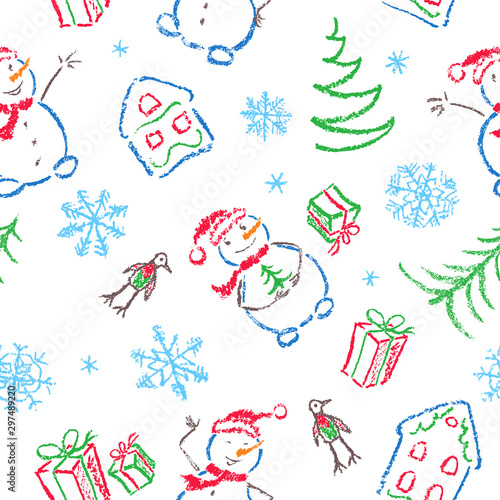 plakat Kids hand drawing christmas seamless funny simple pattern. Like child drawn smiling snowman, tree, gift box, snowflake and house set. Crayon, pastel chalk or pencil doodle vector isolated background