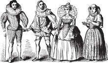 Elizabethan Costumes, Vintage Illustration.