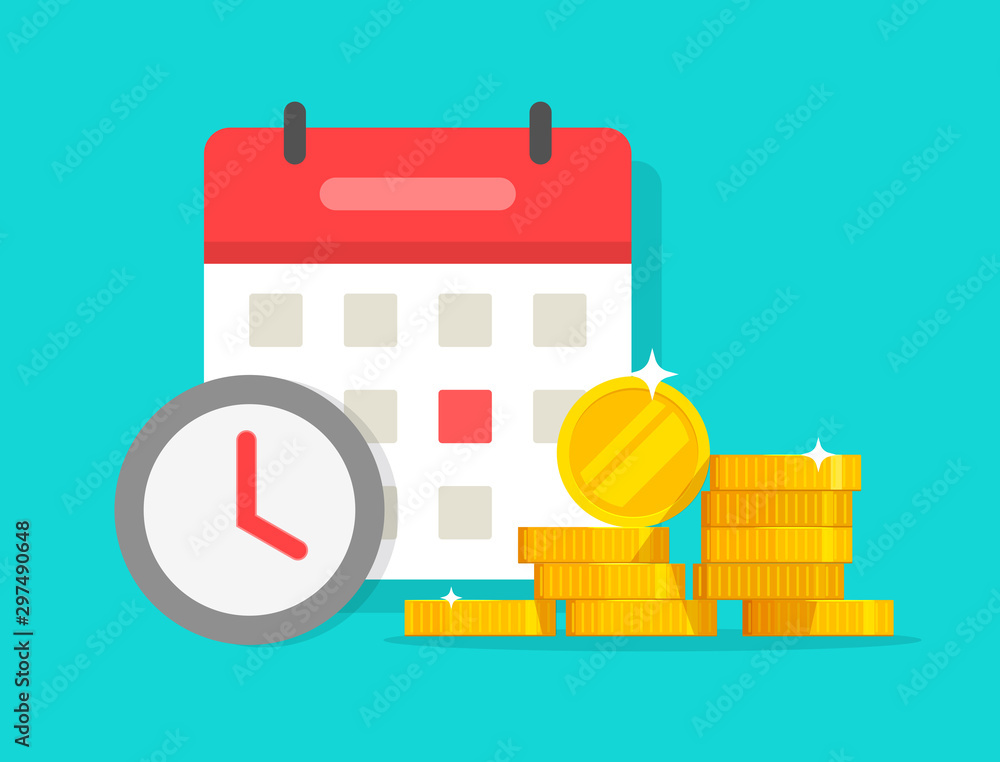 Fototapeta Time money savings vector, flat cartoon timer or clock with lots of loan or credit cash and calendar date, financial waiting or transaction payment deadline, time save success modern image