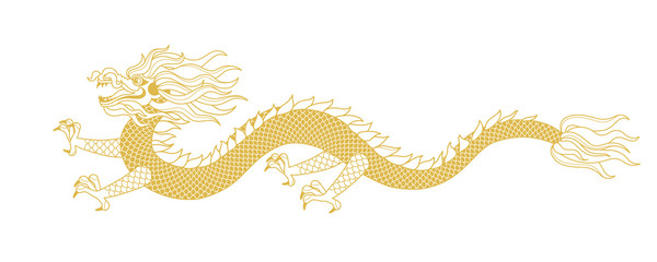 Illustration of Gold Dragon in line art style. Isolated on white background