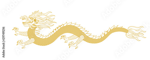 Illustration of Gold Dragon in line art style Fototapet