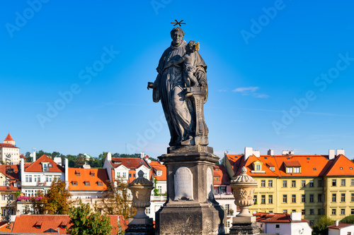 Statue of Saint Anthony of Padua, by Jan Oldřich Mayer On the Carlo Bridge in P Canvas Print