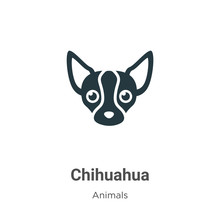 Chihuahua Vector Icon On White Background. Flat Vector Chihuahua Icon Symbol Sign From Modern Animals Collection For Mobile Concept And Web Apps Design.