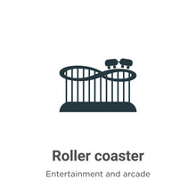 Roller Coaster Vector Icon On White Background. Flat Vector Roller Coaster Icon Symbol Sign From Modern Entertainment And Arcade Collection For Mobile Concept And Web Apps Design.