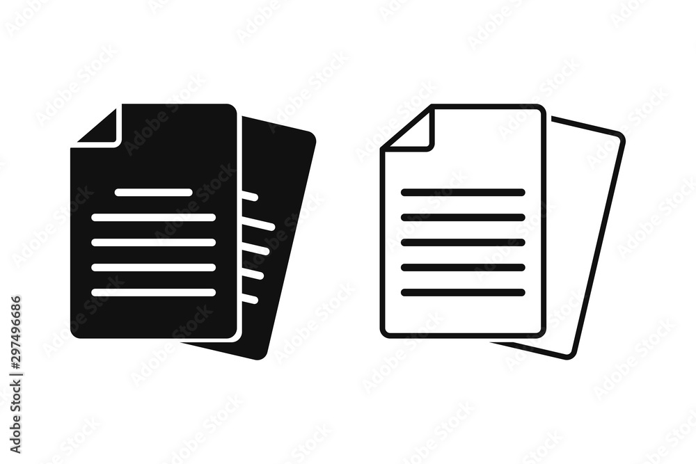 Fototapeta Document vector icon isolated vector graphic. Paper document page icon vector element. Agreement file symbol.