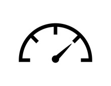Speedometer Icon Vector Isolated Design Element. Speed Indicator Sign. Internet Speed. Car Speedometer Icon. Fast Speed Sign Logo.