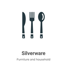 Silverware Vector Icon On Whit...