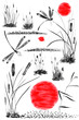 Set of sun,   bulrush, grass and dragonflies.  Watercolor and ink illustration in style sumi-e, u-sin, go-hua. Oriental traditional painting. Isolated .
