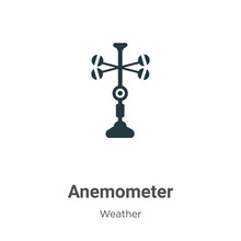Anemometer Vector Icon On White Background. Flat Vector Anemometer Icon Symbol Sign From Modern Weather Collection For Mobile Concept And Web Apps Design.