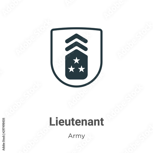 Lieutenant vector icon on white background Canvas Print