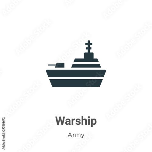 Photo  Warship vector icon on white background
