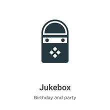 Jukebox Vector Icon On White Background. Flat Vector Jukebox Icon Symbol Sign From Modern Birthday And Party Collection For Mobile Concept And Web Apps Design.