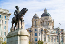 Monument To King Edward VII At The Foreground With Port Of Liverpool Building (or Dock Office) At The Background, In Pier Head, Along The Liverpool's Waterfront, England, United Kingdom