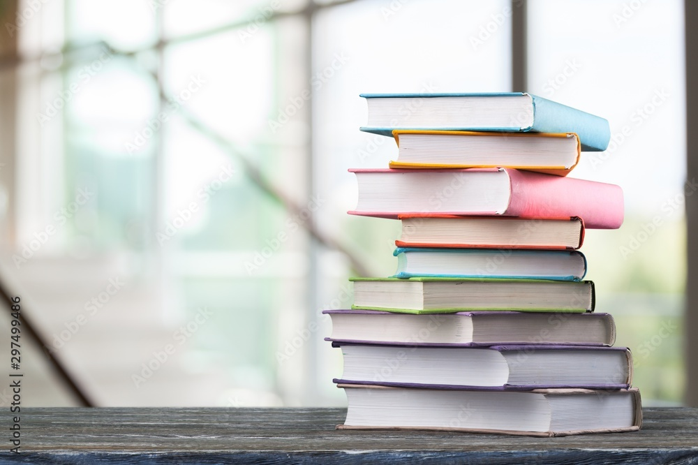 Fototapeta Stack of books, education and learning background
