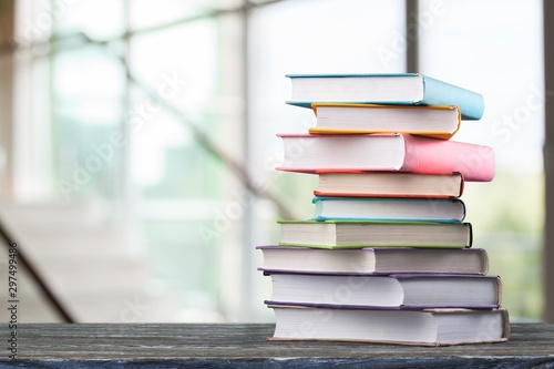 Fotomural Stack of books, education and learning background