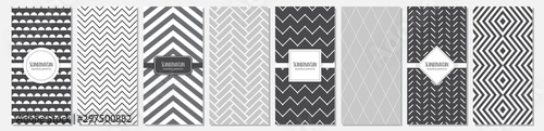 Cute set of Scandinavian vertical card templates based on geometric seamless patterns in neutral palette colors, vector illustration