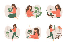 Cute Girl Takes Care Of Houseplants. Female Gardener Pruning, Watering, Replanting, Spraying Potted Plants. Vector Illustration In Flat Cartoon Style