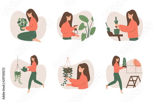 Cute girl takes care of houseplants Fototapet