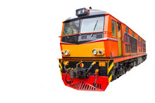Head Train Hauled Diesel Electric Locomotive With Isolated White Background Copy Space Clipping Path