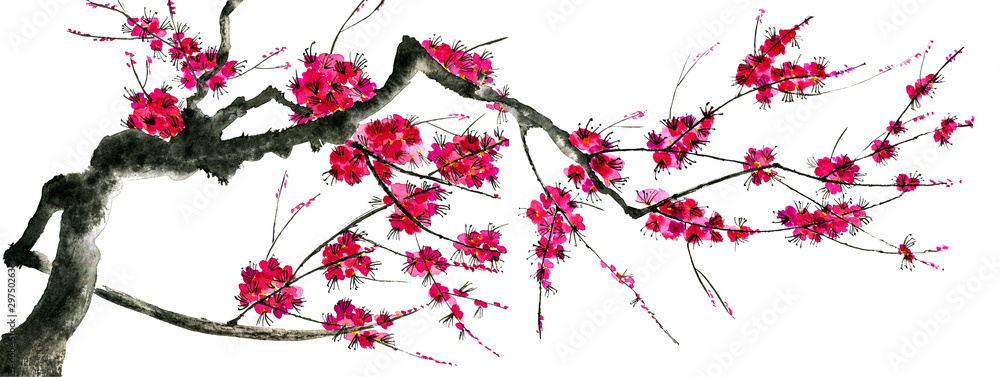 Fototapety, obrazy: A branch of a blossoming sakura. Pink and red stylized flowers of plum mei and  wild cherry . Watercolor and ink illustration of tree in style sumi-e, go-hua,  u-sin. Oriental traditional painting. .