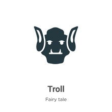 Troll Vector Icon On White Background. Flat Vector Troll Icon Symbol Sign From Modern Fairy Tale Collection For Mobile Concept And Web Apps Design.