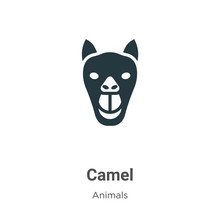 Camel Vector Icon On White Background. Flat Vector Camel Icon Symbol Sign From Modern Animals Collection For Mobile Concept And Web Apps Design.
