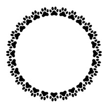 Round Frame Made Of Paw Prints