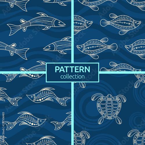 Photo Set of four seamless fashion colorful fish patterns